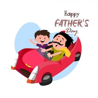 Conceito feliz da celebração do dia de pai com o duo do pai e do filho que aprecia o passeio do carro.