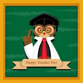 Conceito feliz dia do professor com ilustração da coruja do professor