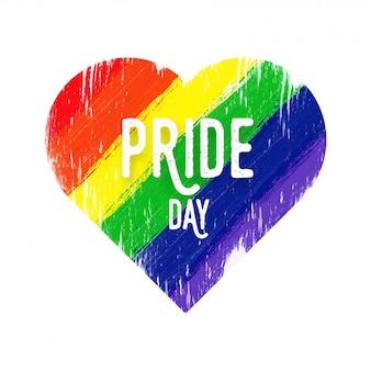 Conceito feliz do dia do orgulho com forma do coração para a comunidade de lgbtq.