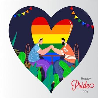 Conceito feliz do dia do orgulho para a comunidade de lgbtq com os pares alegres que guardam as mãos e o heartshape da liberdade da cor do arco-íris no fundo.