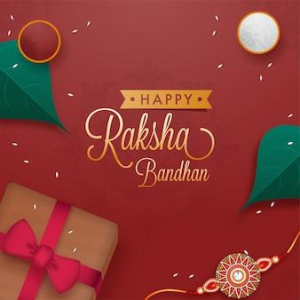 Conceito feliz raksha bandhan com vista superior da caixa de presente