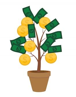 Conceito financeiro árvore do dinheiro - conceito de negócio bem sucedido