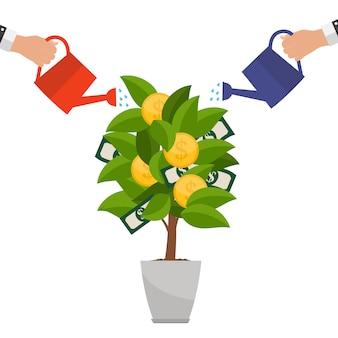 Conceito financeiro árvore do dinheiro - símbolo de negócio de sucesso. ilustração