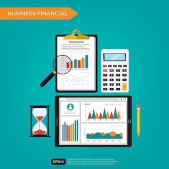 Conceito financeiro de negócios com gráficos modernos e elementos gráficos. ilustração plana