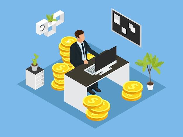 Conceito financeiro de negócios isométrico