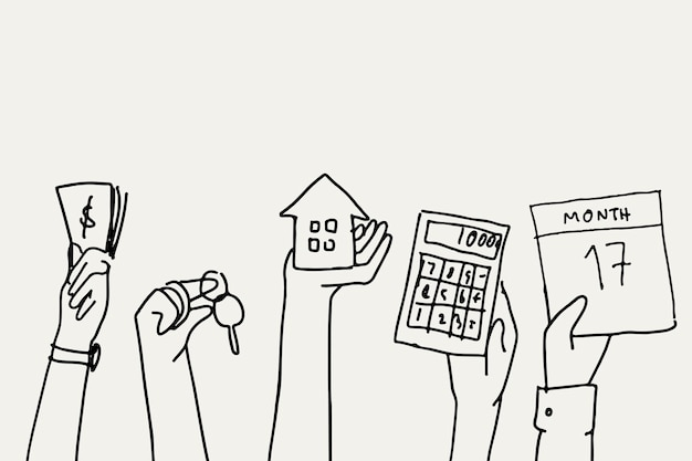 Conceito financeiro do vetor doodle financeiro