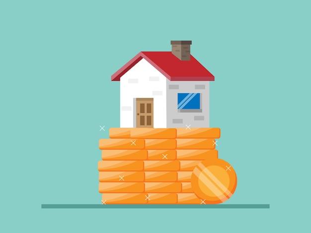 Conceito financeiro para casa casa na pilha de moedas ilustração plana