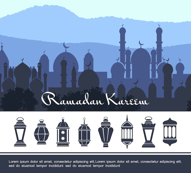 Conceito flat ramadan kareem