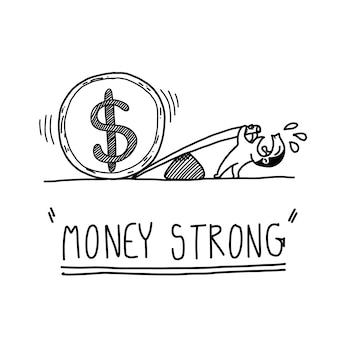 Conceito forte de dinheiro de sorteio de mão dos desenhos animados