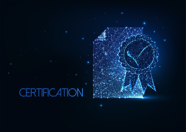 Conceito futurista de certificado de qualidade superior
