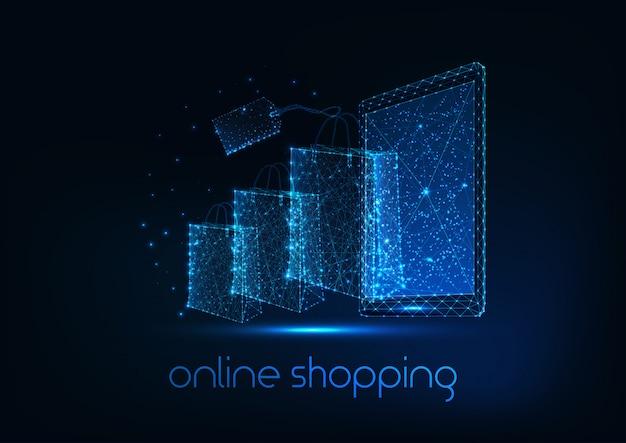 Conceito futurista de compras on-line com tablet poligonal baixo brilhante, sacos de papel e etiqueta de preço.