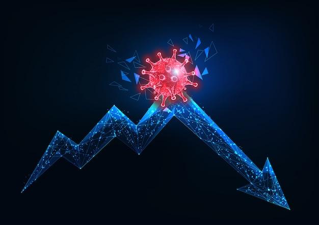 Conceito futurista de crise da economia global devido ao impacto do coronavírus