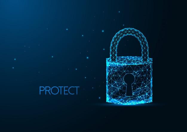 Conceito futurista de segurança cibernética com cadeado poligonal brilhante com um furo da chave