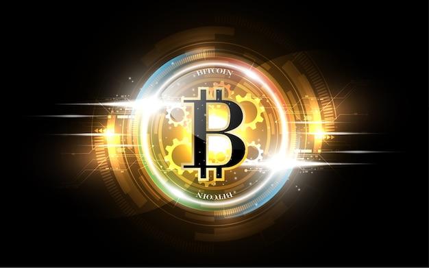 Conceito futurista do negócio da rede do dinheiro do ouro de bitcoin