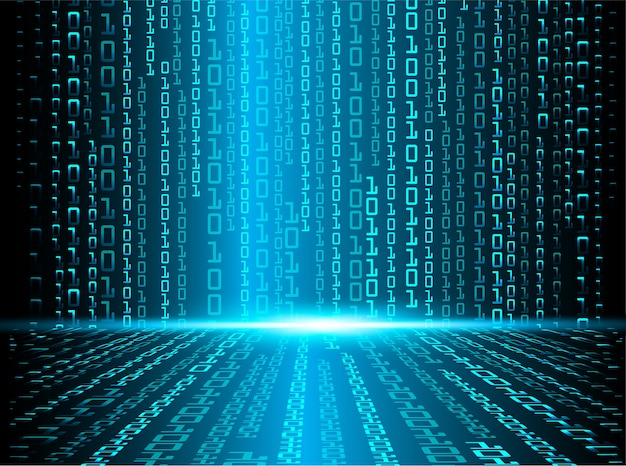 Conceito futuro cibernético binário azul