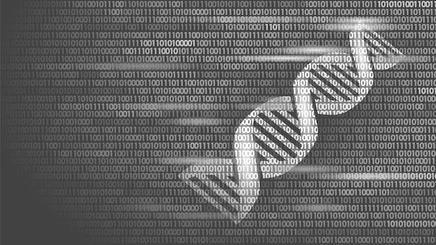 Conceito futuro da tecnologia de computador do código binário do adn, ciência do genoma
