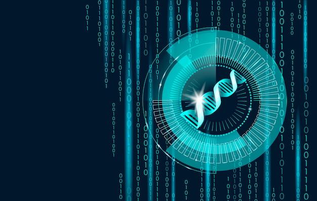 Conceito futuro da tecnologia de computador do código binário do adn, genoma