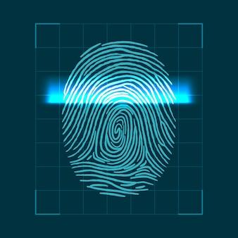 Conceito geométrico abstrato para digitalização de impressões digitais. verificação de identidade pessoal. ilustração