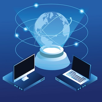Conceito global de tecnologia digital azul