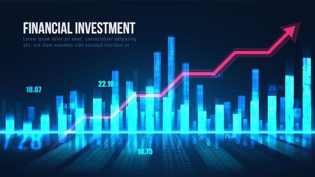 Conceito gráfico de indicadores do mercado de ações
