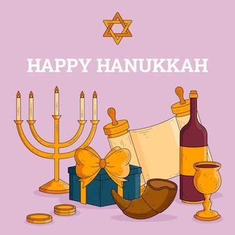 Conceito hanukkah desenhado à mão