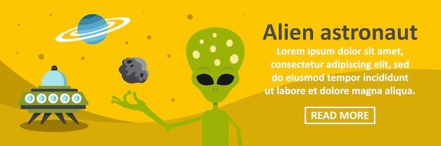 Conceito horizontal da bandeira astronauta alienígena