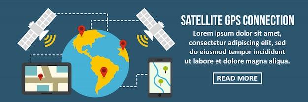 Conceito horizontal da bandeira da conexão dos gps de satélite