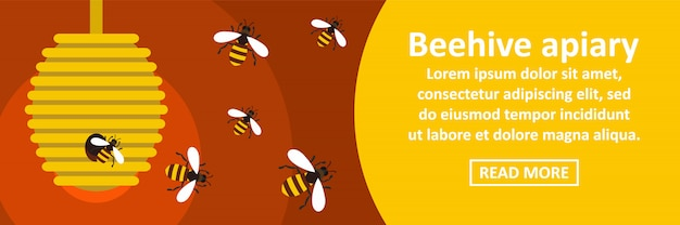 Conceito horizontal da bandeira do apiário da colmeia
