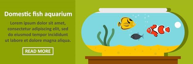 Conceito horizontal da bandeira do aquário dos peixes domésticos