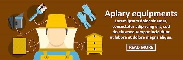 Conceito horizontal da bandeira dos equipamentos do apiário