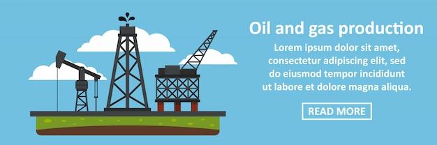 Conceito horizontal de bandeira de produção de petróleo e gás