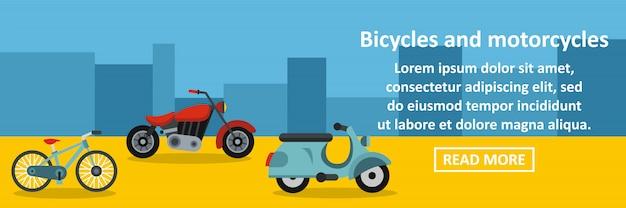 Conceito horizontal de banner de bicicletas e motocicletas