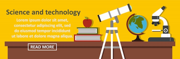 Conceito horizontal de banner de ciência e tecnologia