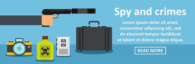 Conceito horizontal de banner de espionagem e crimes