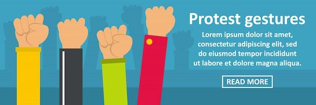 Conceito horizontal de banner de gestos de protesto