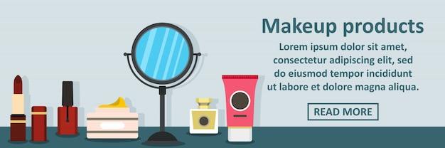 Conceito horizontal de banner de produtos de maquiagem