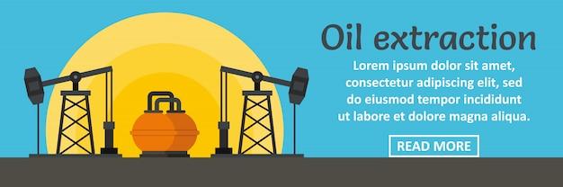 Conceito horizontal de modelo de banner de extração de óleo