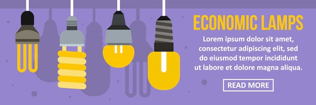 Conceito horizontal de modelo de banner de lâmpadas econômicas