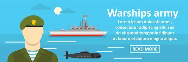 Conceito horizontal do banner de exército de navios de guerra