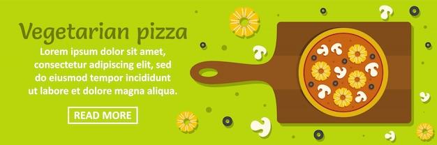 Conceito horizontal do modelo da bandeira da pizza do vegetariano
