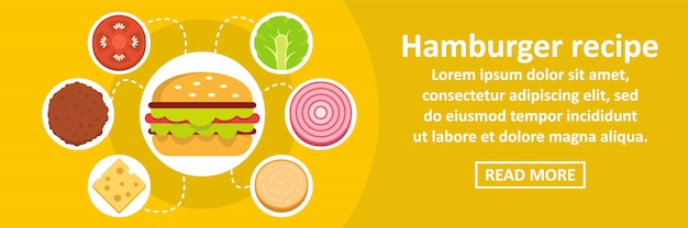 Conceito horizontal do molde da bandeira da receita do hamburger