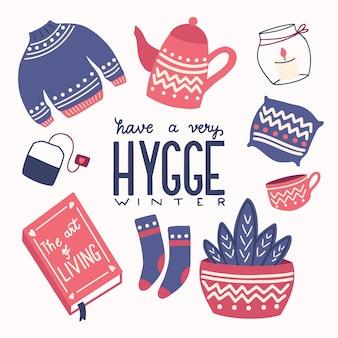 Conceito hygge com letras coloridas de mão e ilustração