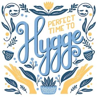 Conceito hygge. letras coloridas à mão e ilustração