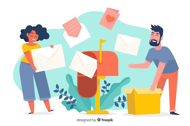 Conceito ilustrado de caixa de correio para landing page