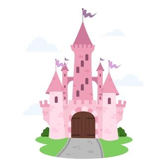 Conceito ilustrado de castelo de conto de fadas