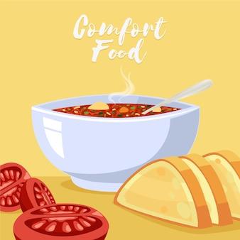 Conceito ilustrado de coleção de alimentos confortáveis