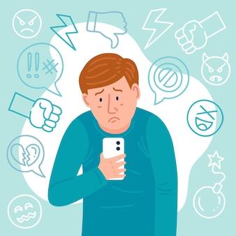 Conceito ilustrado de cyber bullying