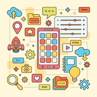 Conceito ilustrado de desenvolvimento de aplicativos
