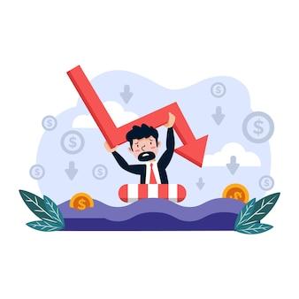 Conceito ilustrado de design plano de falência