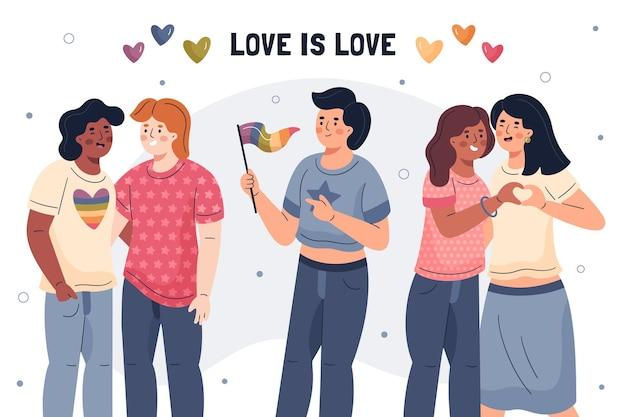 Conceito ilustrado de homofobia de parada